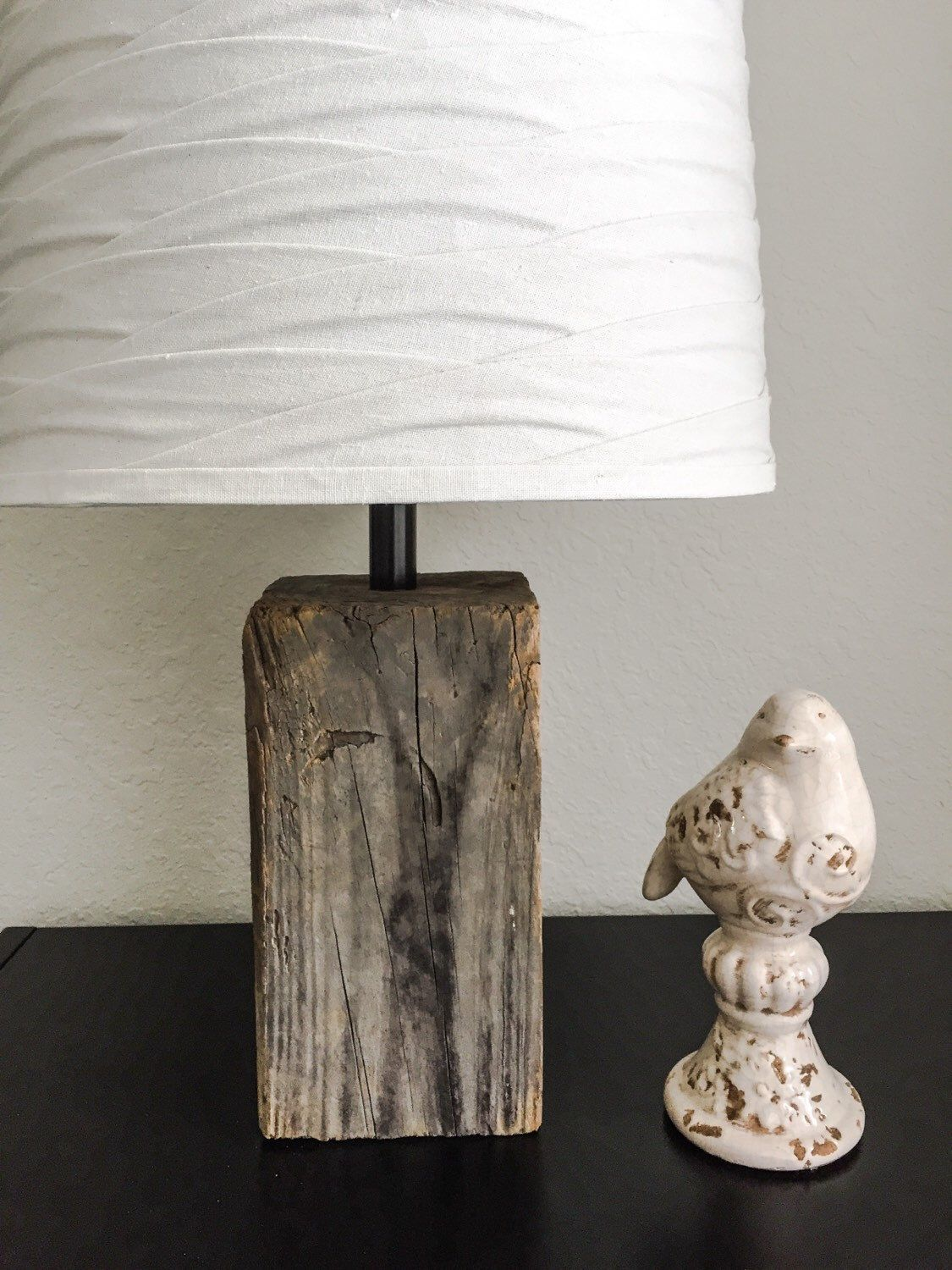 Rustic Reclaimed Wood Table Or Accent Lamp Vintage Weathered Etsy Rustic Reclaimed Wood Reclaimed Wood Table Lamp