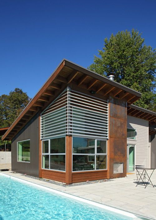 Oxidized Steel Panels Start By Researching Corten Steel On Houzz If You Re Interested In Projects With Cor Ten Cont House Exterior House Design House Roof