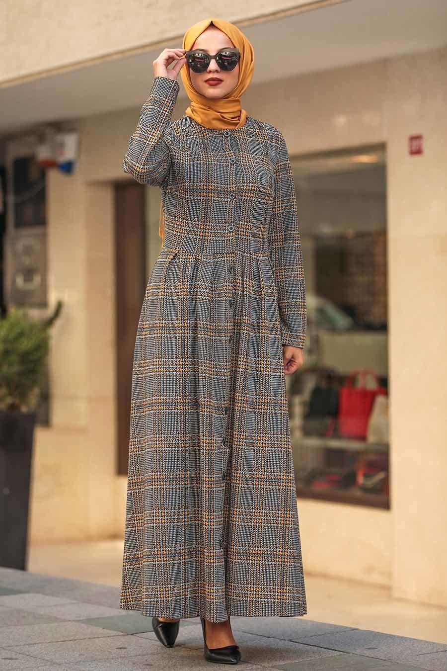 Neva Style Ekoseli Hardal Tesettur Elbise 75901hr Tesetturisland Com Moda Stilleri Elbise Maksi Elbiseler
