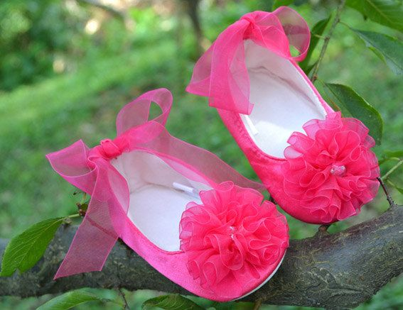 This shop is amazing i love love love everything they sell hot pink satin toddler shoes children shoes flower girl ballet flat baby shoes hardsole children can walk outside mightylinksfo Choice Image