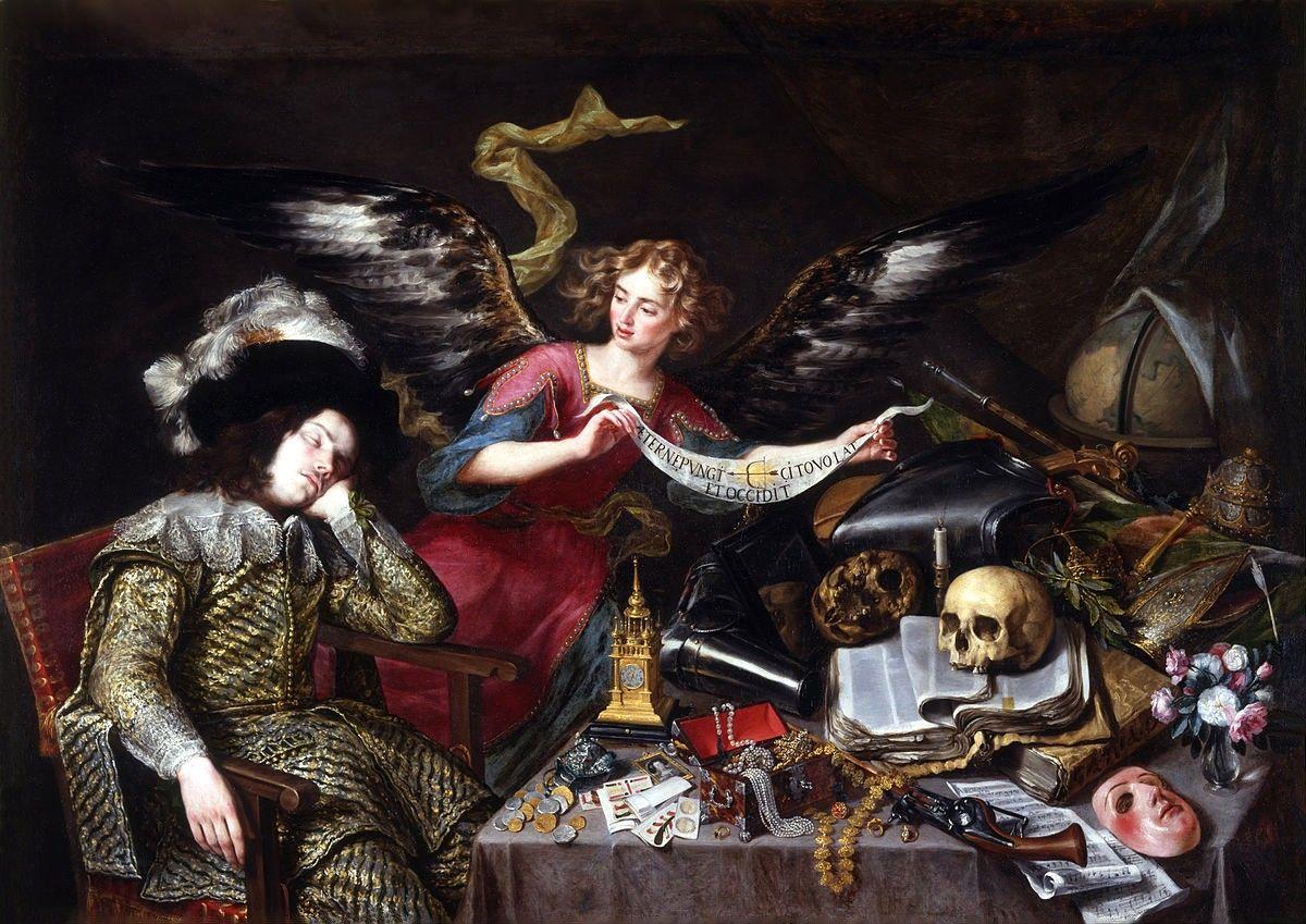 """Art from Spain - Antonio de Pereda y Salgado (1611-1678). """"El sueño del caballero"""". Un ángel le muestra a un caballero durmiente, el carácter efímero de la vida. Sobre la mesa; la calavera simboliza la muerte, la máscara es la hipocresía, las joyas y el dinero son las riquezas que no podemos llevar al otro mundo, el reloj indica el paso inexorable del tiempo, la vela apagada indica la extinción de la vida. The Knights Dream (1655). Real Academia De San Fernando. Madrid."""