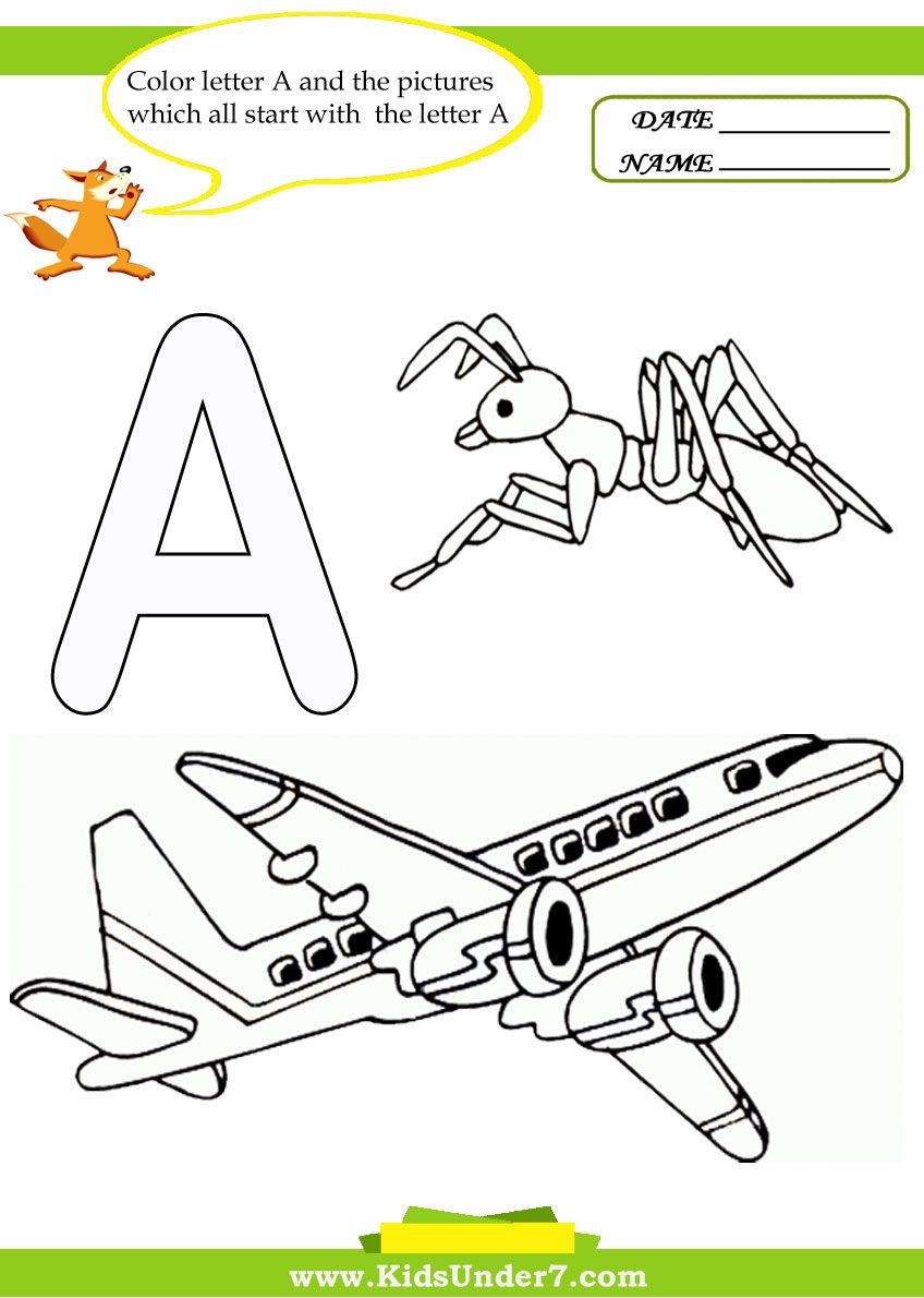 Letter A worksheets and coloring