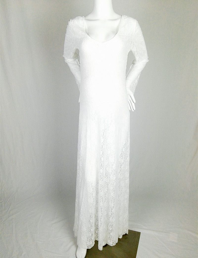 Maternity casual wedding dress  Maxi Lace Maternity Gown Long Sleeve Vneck Maternity Photo Shooting
