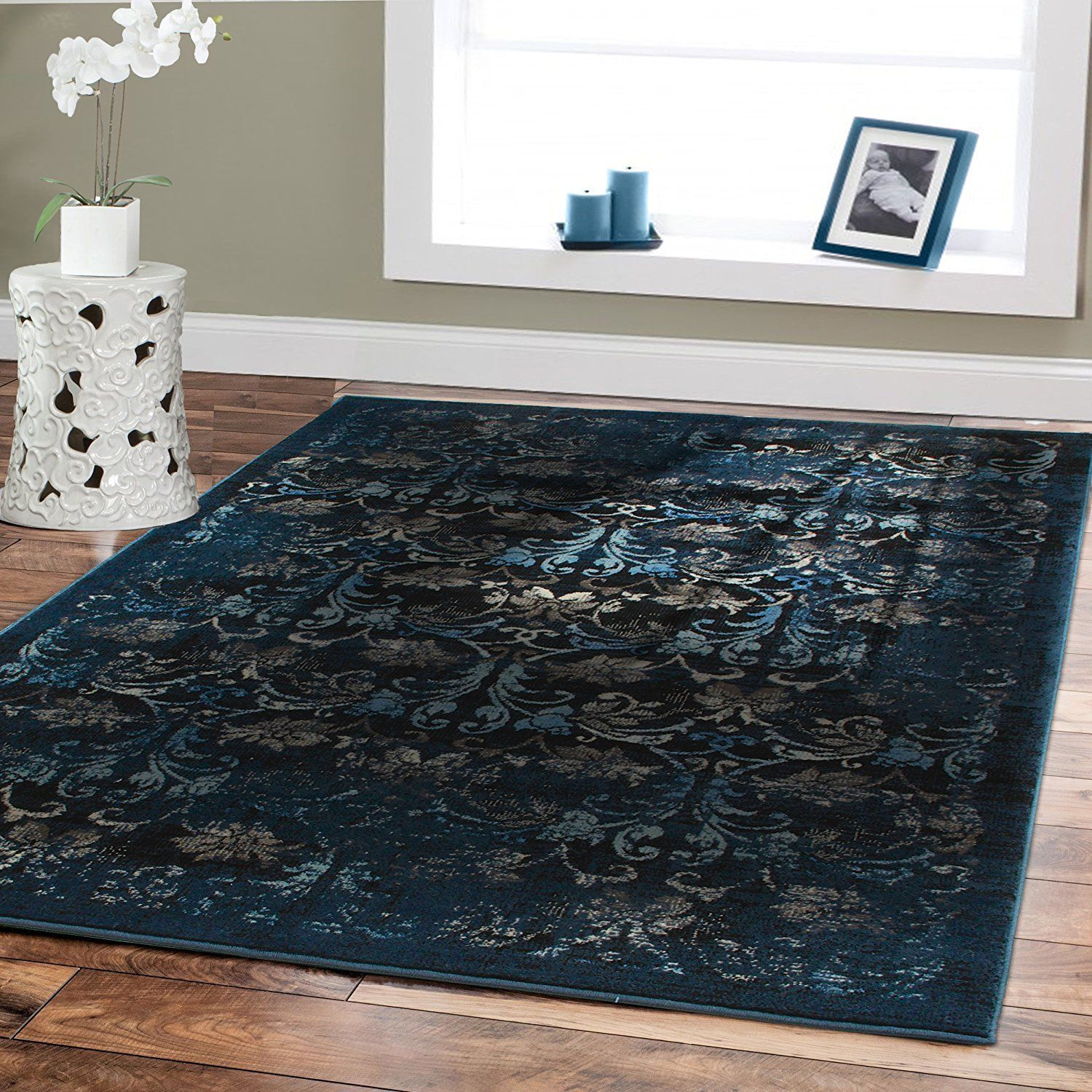 Large Area Rugs Abstract Carpet Navy Floral Rug Multiple Size Living Room Blue Outdoor Rug Contemporary Area Rugs 8x10 Area Rugs