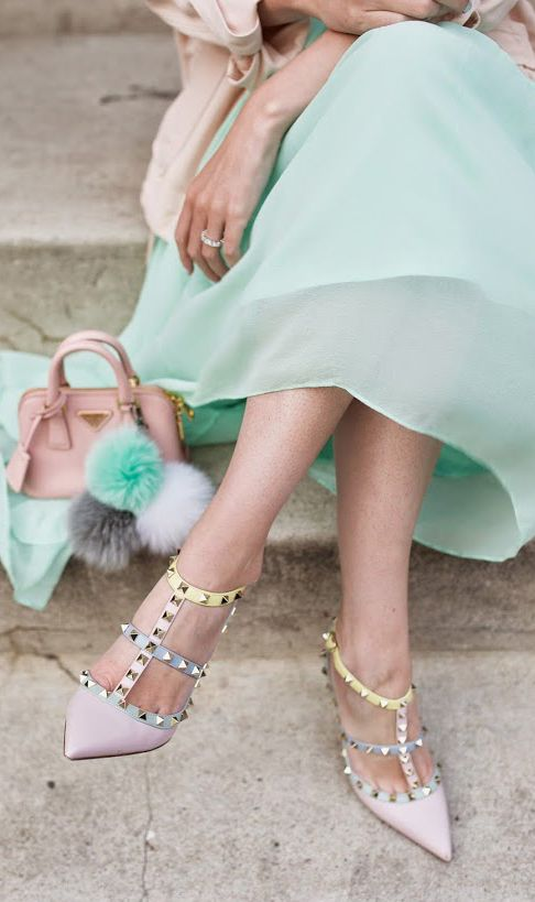mint skirt with valentino heels