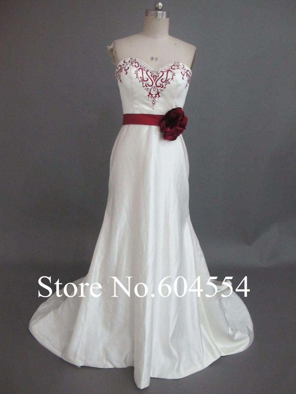 >> Click to Buy << Vestido De Noiva Custom Made Ivory and Red Satin Embroidery Beading Sash Mermaid Wedding Dress Vestido De Casamento #Affiliate