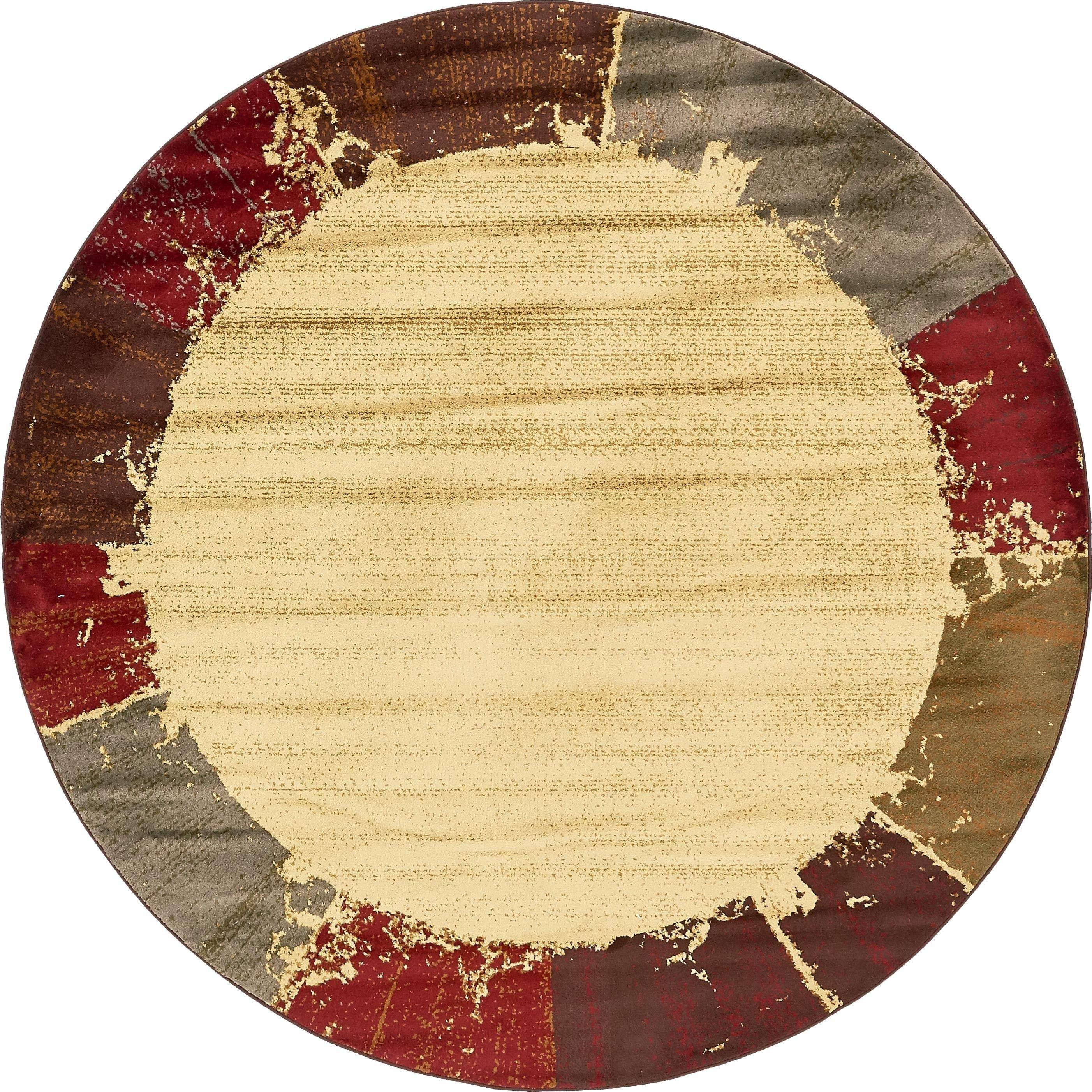 Unique Loom Coffee Border Cream Ivory Red Indoor Outdoor Round Rug Size 8 X