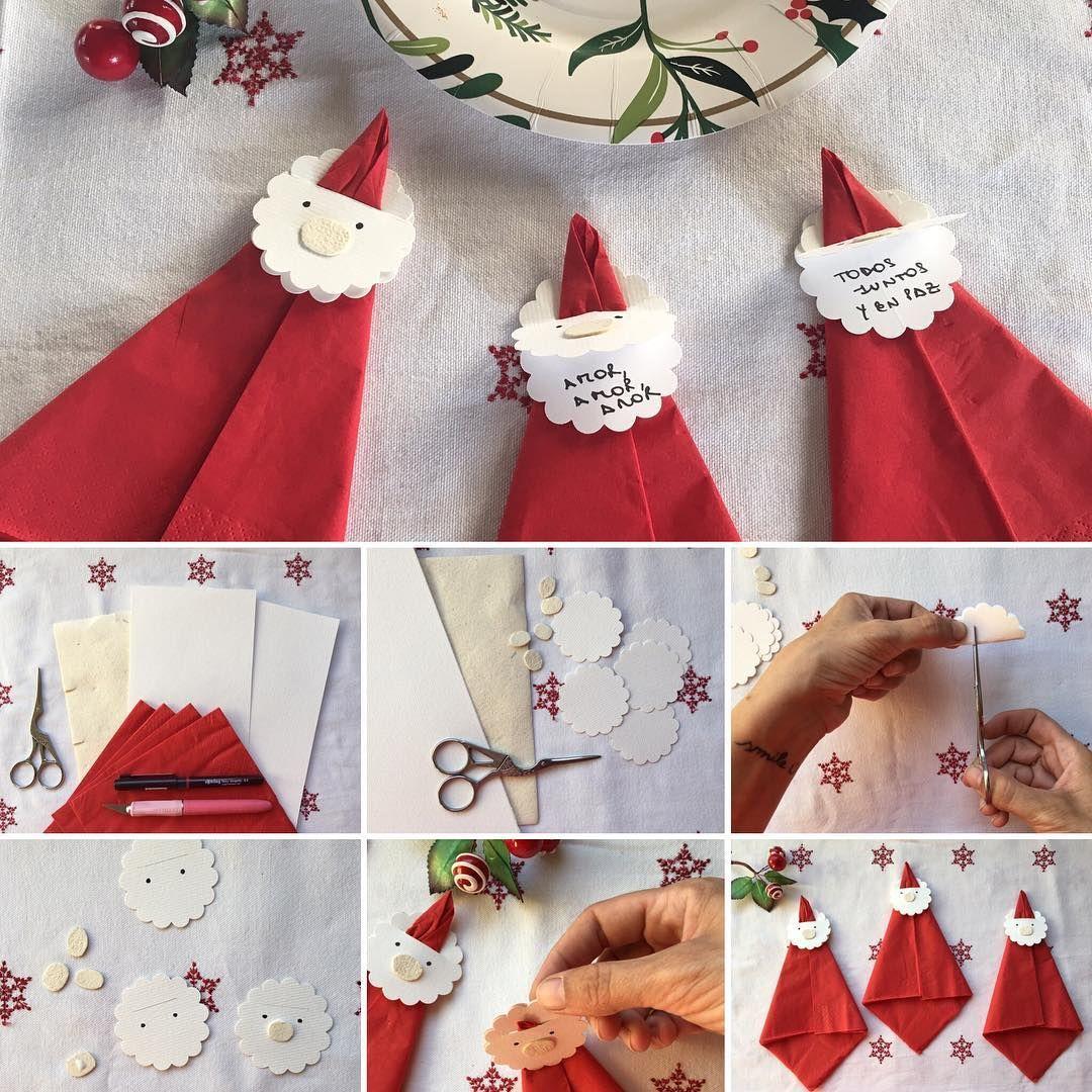DIY PARA LA MESA NAVIDEÑA  Mi regalito de Navidad para esta comunidad tan linda es un DIY de servilletas con mensajes. Para mi, la dedicación ☺ que le ponemos a armar la mesa de noche buena⭐️, es un gesto de cariño para todos los que van a compartirla. Estos papá Noel tiene una tapita para que cada invitado pueda hacer una pausa y reflexionar sobre la Navidad y pedir un deseo.  Yo les deseo a todo de corazón que pasen una feliz Navidad ✨con su gente querida, juntos, en paz y amor ...