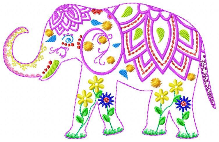 Stickmuster Elefant Superbunt Stickdatei 13x18 Ein Designerstuck Von Calii Mandala Elefant Stickmuster Elefant