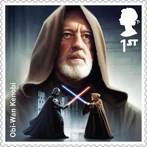 A Royal Mail stamp featuring Obi-Wan Kenobi