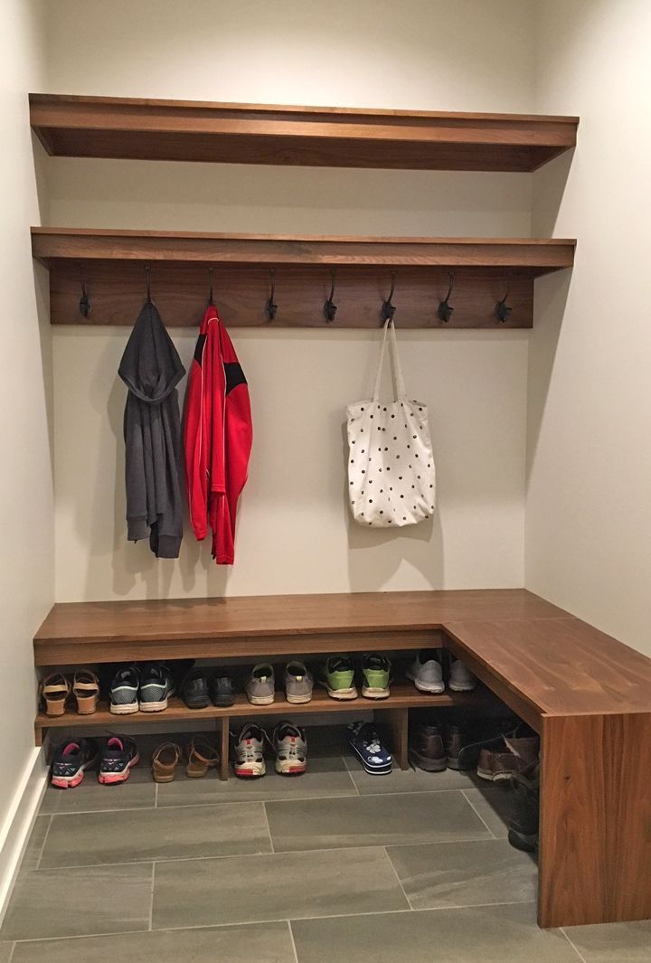 Mudroom floor tile: Crux 12X24 Mica. Walls: City Loft (SW 7631). Mapei grout in Sahara Beige. Bench and wall shelves in walnut. #cityloftsherwinwilliams Mudroom floor tile: Crux 12X24 Mica. Walls: City Loft (SW 7631). Mapei grout in Sahara Beige. Bench and wall shelves in walnut. #cityloftsherwinwilliams Mudroom floor tile: Crux 12X24 Mica. Walls: City Loft (SW 7631). Mapei grout in Sahara Beige. Bench and wall shelves in walnut. #cityloftsherwinwilliams Mudroom floor tile: Crux 12X24 Mica. Wall #cityloftsherwinwilliams