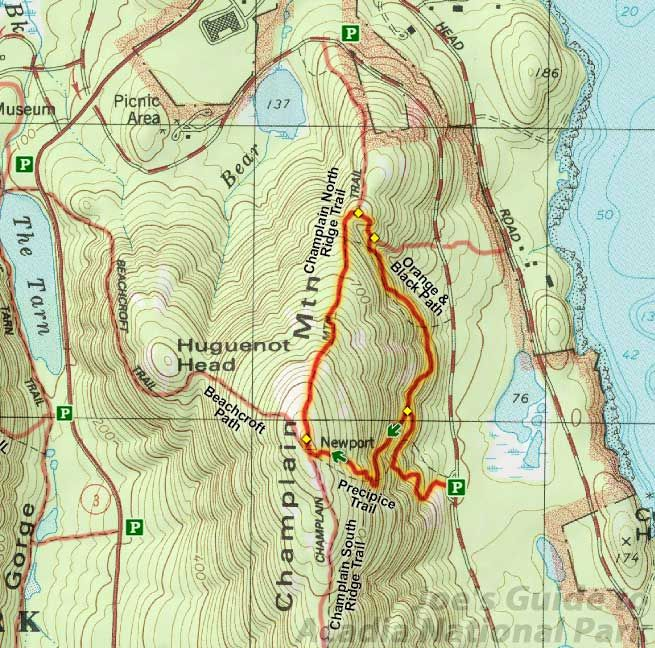 Joes Guide to Acadia National Park Precipice Trail Topo Map Joes