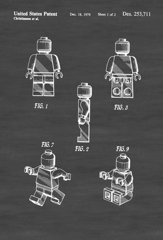 Lego Toy Figure Patent - Patent Print Wall Decor Lego Figure Lego ...
