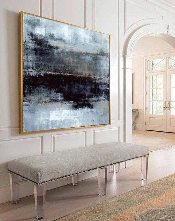 Large Oil Painting Abstract Gray Painting Abstract Painting Black Contemporary Art Original Texture Abstract Painting Living Room Wall Art #etsyonsale