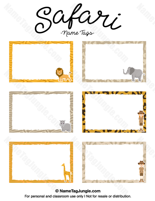 Free printable safari name tags. The template can also be used for ...