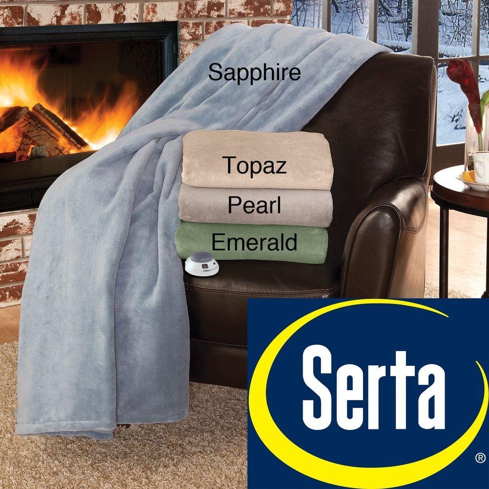 New Serta Brand Soft Luxe Plush Electric Warming Blanket