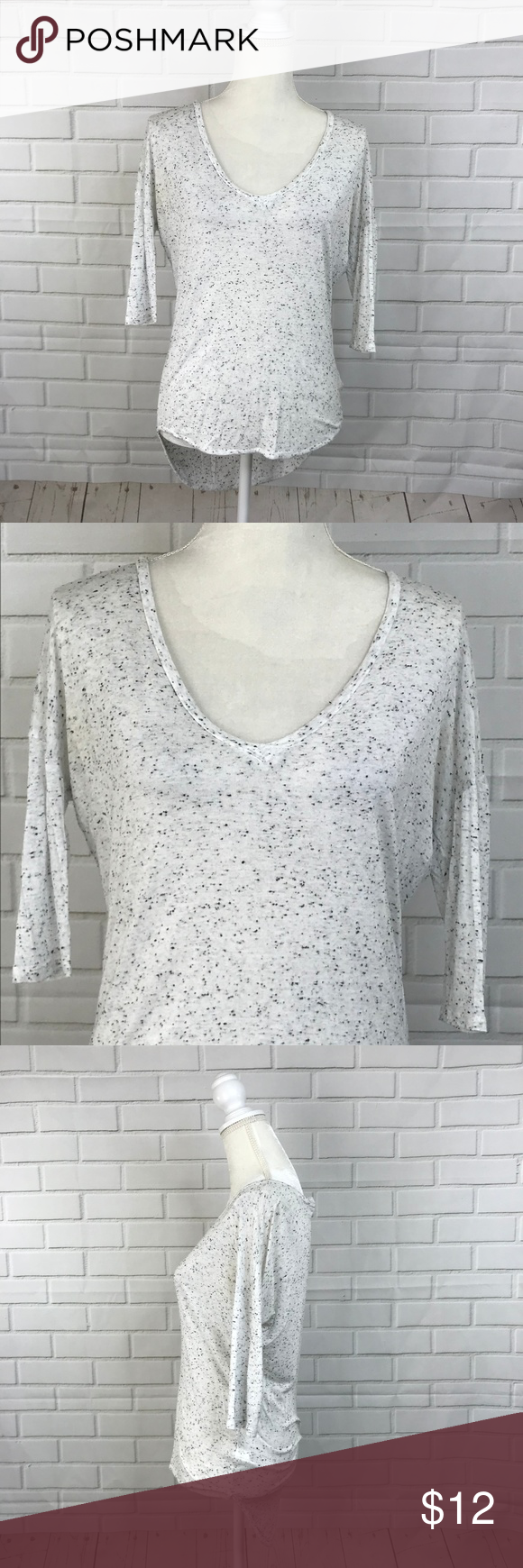Express one eleven blouse thin top white black dot in my posh