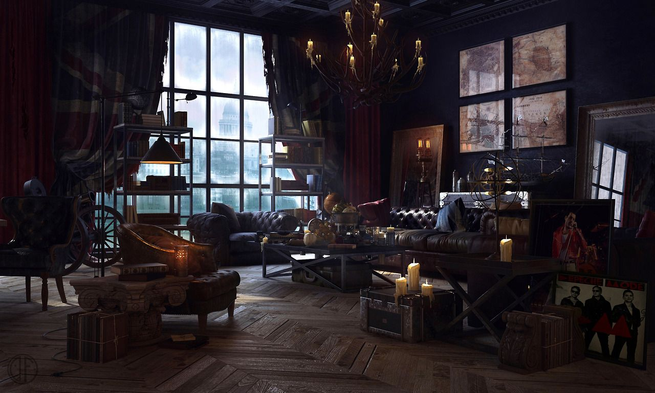 Interior design 3d digital art digital steampunk victorian for Steampunk living room ideas