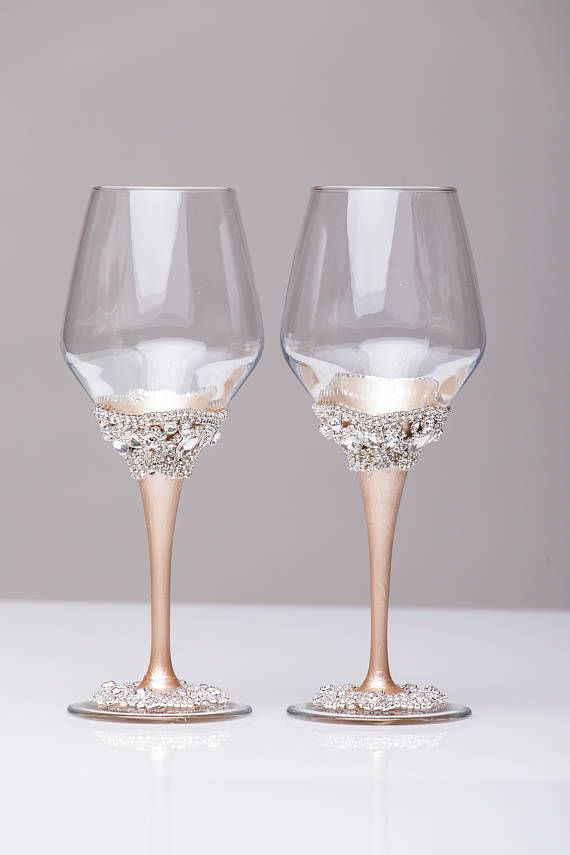 wedding wine glasses ivory champagne set of 2 glasses wedding wine glasses wine glasses wedding gift glasses bride and groom