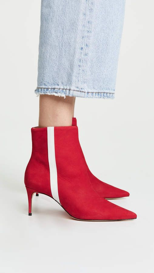 f6ca093110622 Schutz Suede Adrien Stripe Booties - Red ankle boots with white stripe