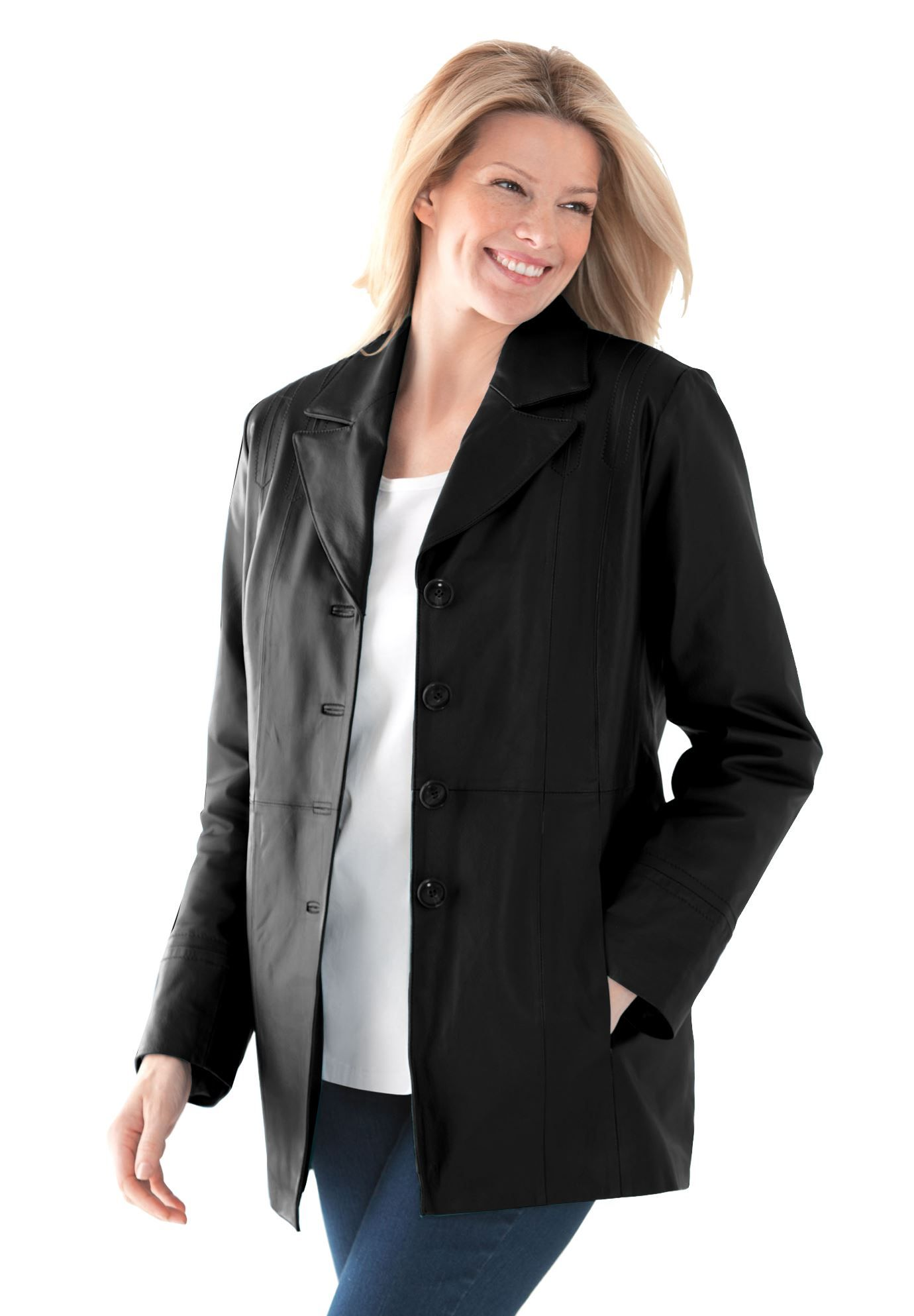 Soft leather jacket with notched lapels Plus Size All