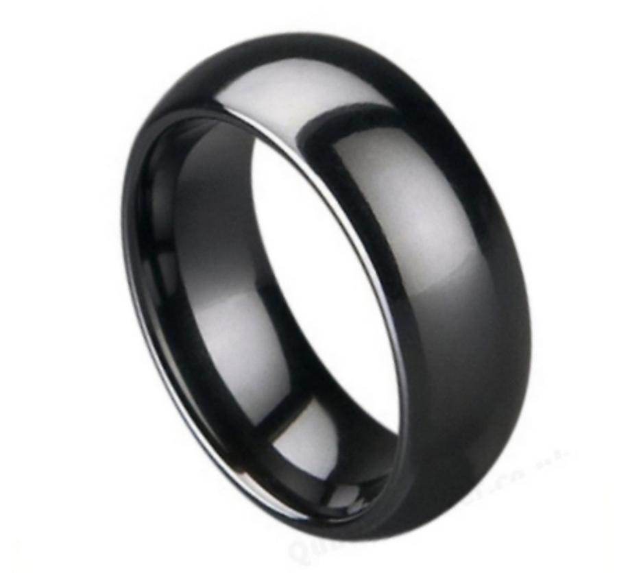 Thorsten Landon Domed Polish Finished Black Ceramic Ring 6mm Wide Wedding Band from Roy Rose Jewelry