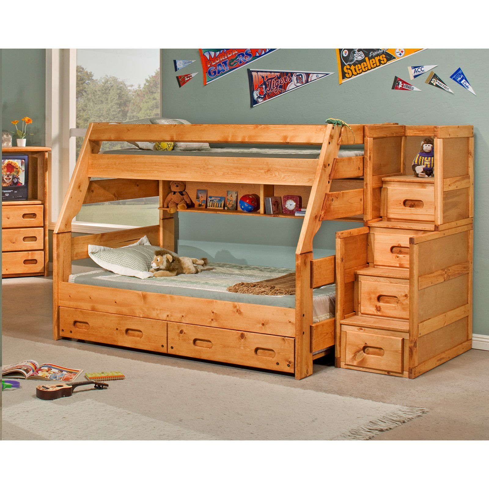 Chelsea Home Twin Over Full Bunk Bed With Stairway Chest Cinnamon From Hayneedle