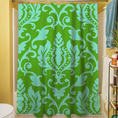 Manual Woodworkers & Weavers Francie Damask Shower Curtain Color: Green