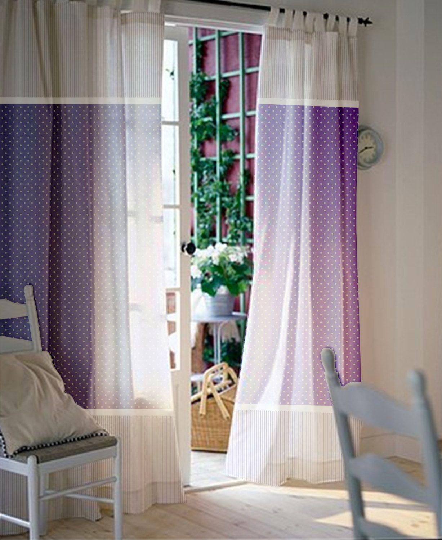 Purple polka dot curtains - Pair Of Custom Curtains Nursery Kids Room With White And Purple Polka Dot And