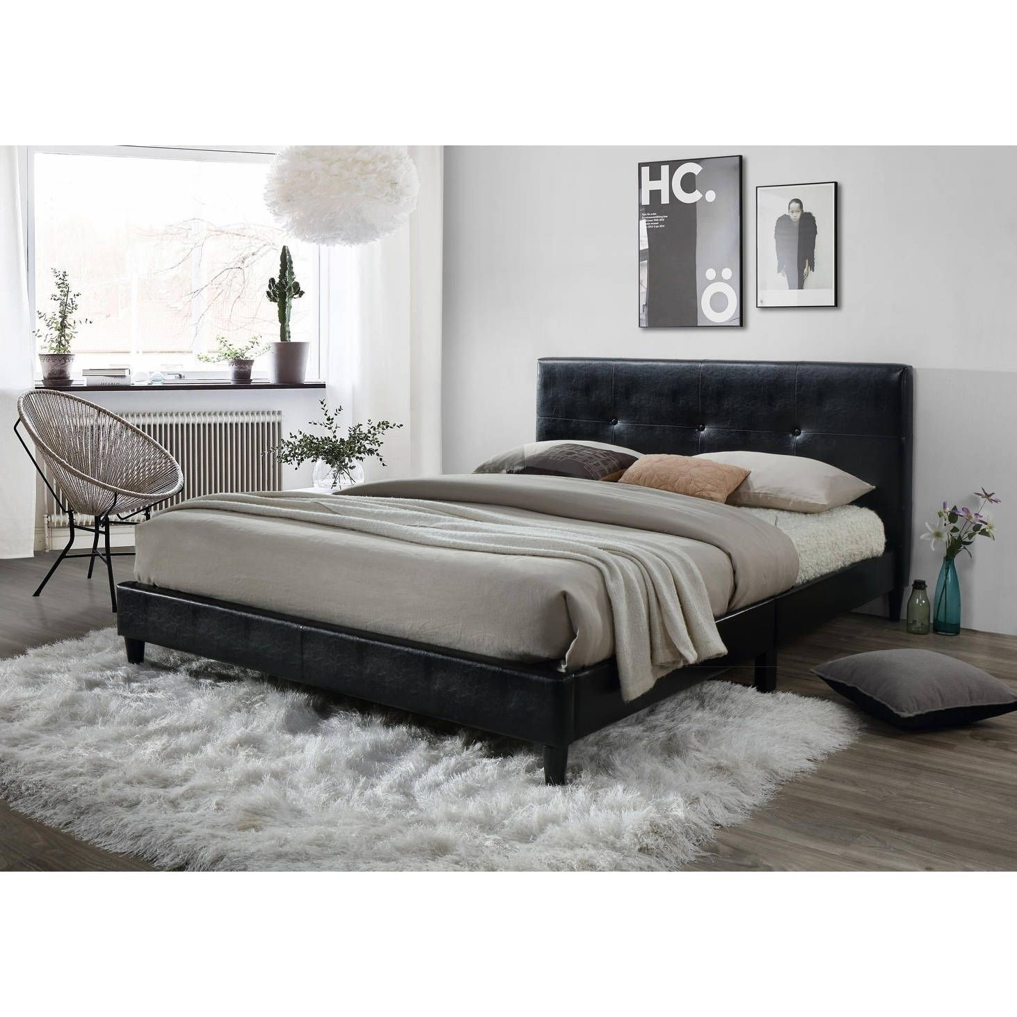 lyke home jackson tufted black platform bed king black platform