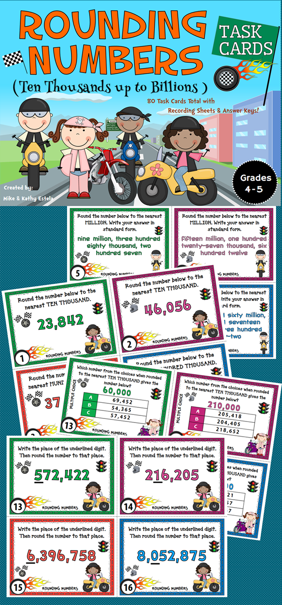 This pack contains a total of eighty (80) task cards divided into three (3) sets with an emphasis on helping students learn or practice on how to round numbers from the ten thousands up to billions places.
