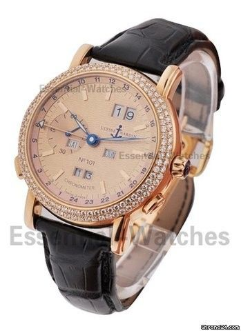 Ulysse Nardin GMT Perpetual 40mm with Diamond Bezel - Rose Gold on Strap with Salmon Dial