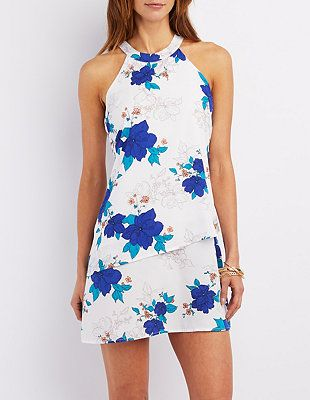 6ee142ea18fe Layered Floral Print Shift Dress  Charlotte Russe