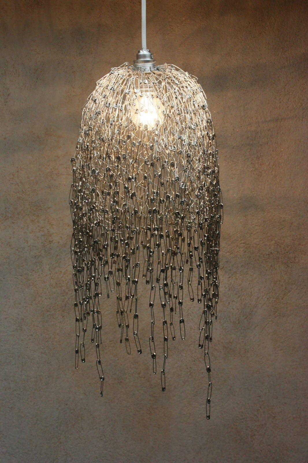 Inspire me diy safety pin lamp lights pinterest safety pins diy safety pin light materials safety pins pieces chicken wire wire bulb fitting cable plug bulb pliers pincers it would look nice with golden painted greentooth Image collections