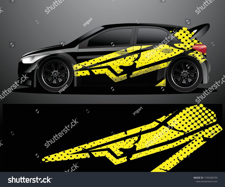 Rally Car Decal Grafik Wrap Vektorillustration Stock Vektorgrafik Lizenzfrei 1705038709 Di 2020