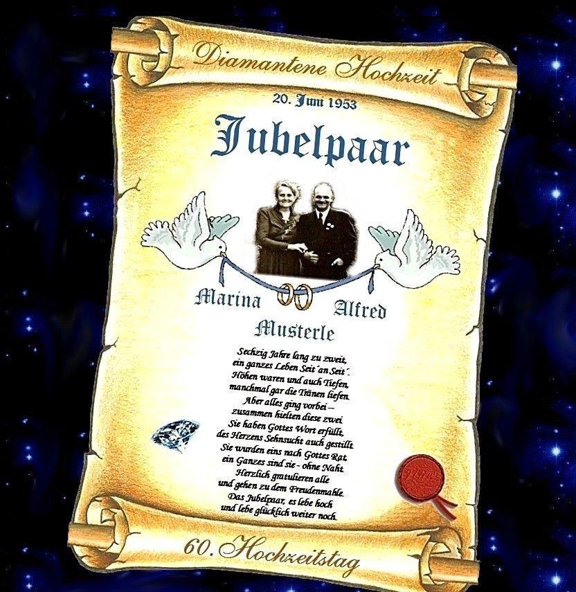 Diamantene Hochzeit 60 Hochzeitstag Geschenk Urkunde Diamanten Jubilaum Sammeln Seltenes Sais Diamantene Hochzeit Hochzeitstag Geschenk 60 Hochzeitstag
