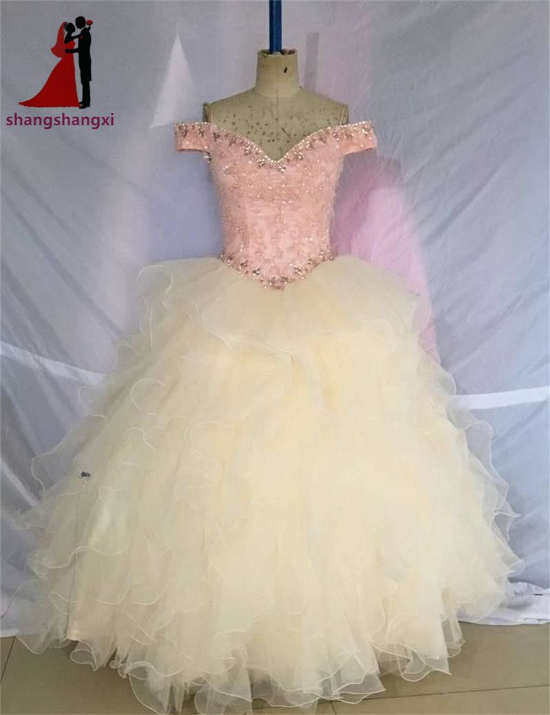 Click to Buy    2017 Pink Quinceanera Dresses Off Shoulder Appliques Ball  Gown.    d3430642db6f