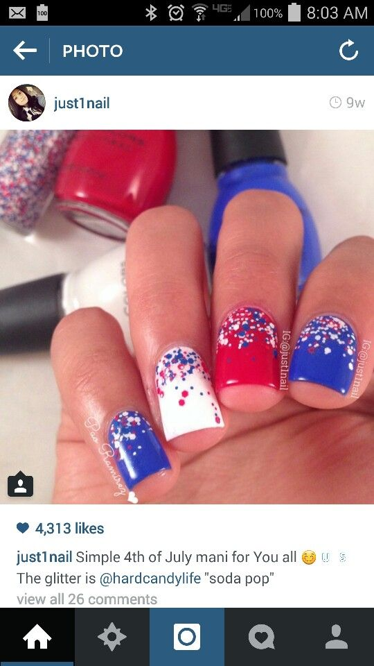 Fourth of July nail art from @just1nail | pretty nails | Pinterest