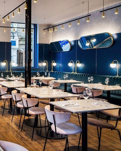 A modern interpretation on British dining @grind  #clerkenwellgrind @paulwf . . . #london #biasol #design #interior #architecture #branding #products #furniture #lighting #navy #pink #marble #brass #australiandesign #australianarchitecture  #restaurant #bar #club