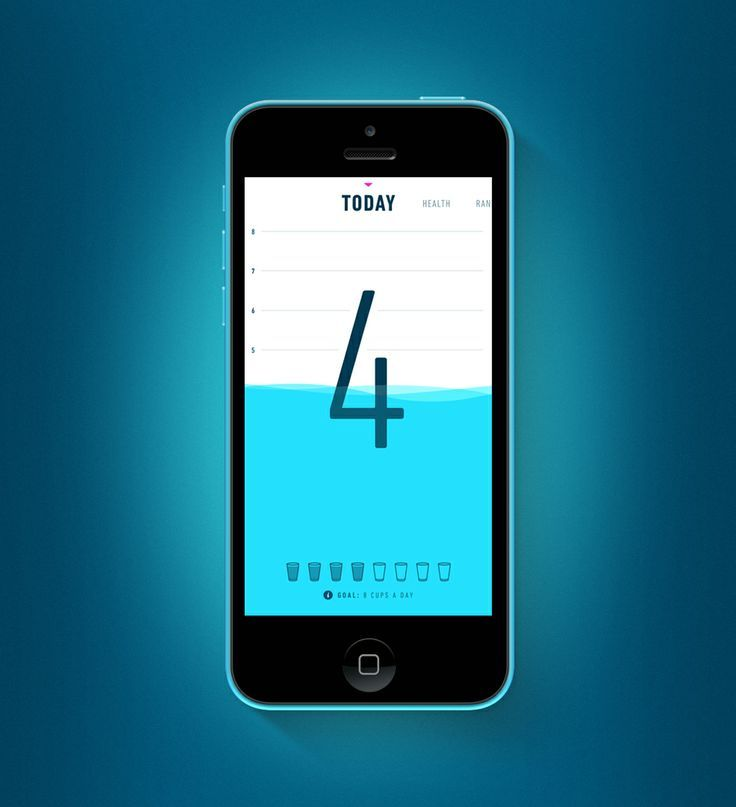 Apple. iPhone. iOS7. Water Consumption. Application. White