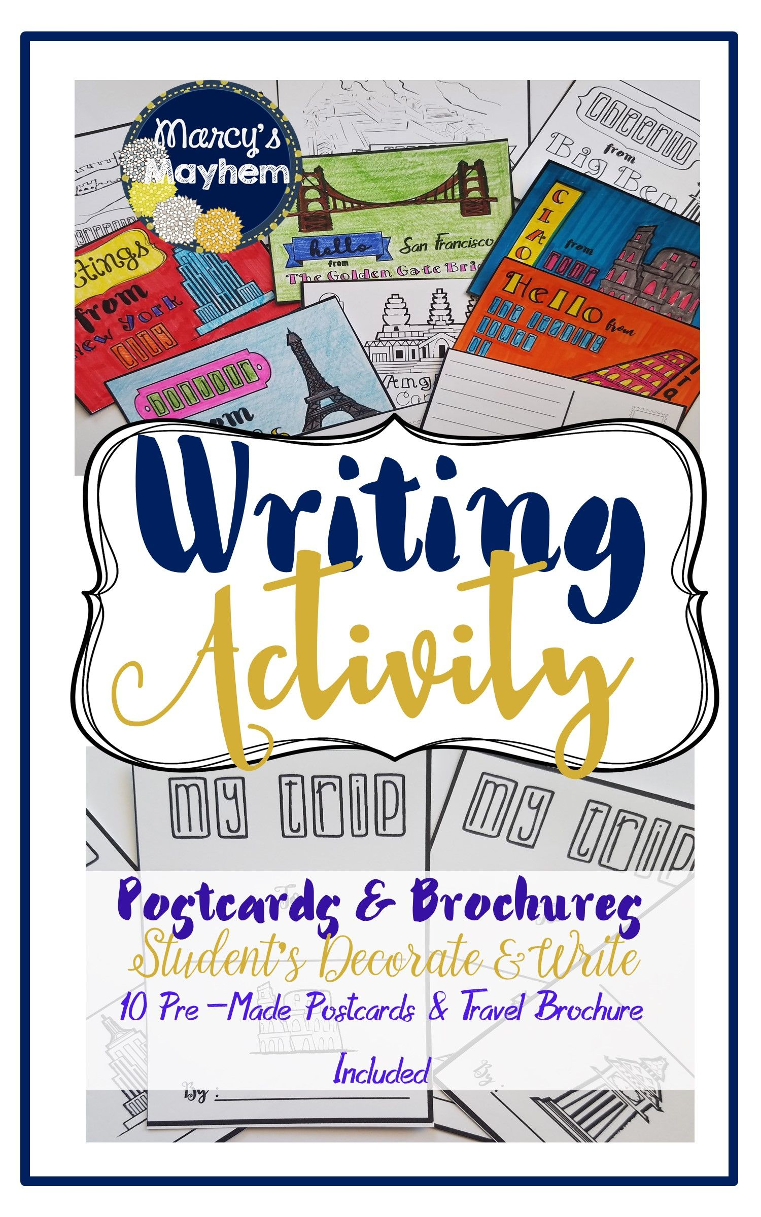 Writing Activity 4th Amp 5th Grade Postcards And Brochure