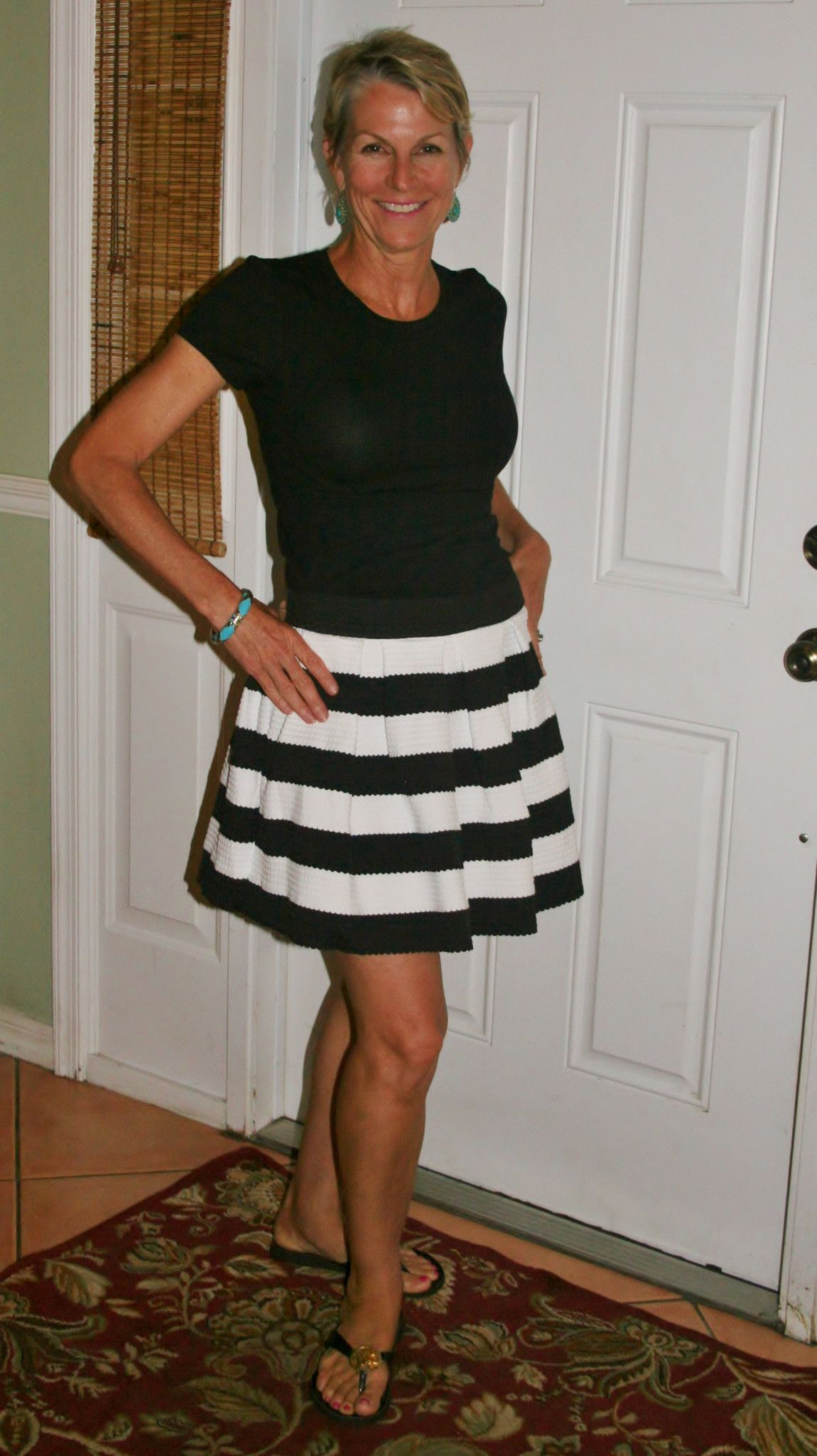 c313b9ef8 Black & White Wide Striped Short Skirt | skirts | Striped shorts ...