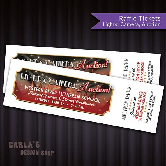Printable Event Tickets Lights Camera Auction Printable Raffle Ticket Fundraiser Fit 10 .