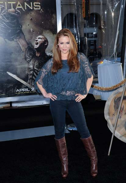 Alyssa Milano In Jeans & Leather Knee-High Boots - Hot Or ...