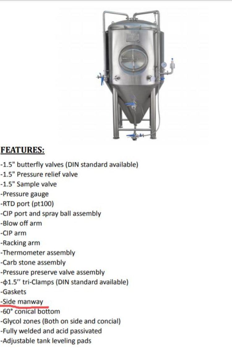 1 5bbl Jacketed Fermenter Brewing Equipment Brewing Supplies Beer Industry