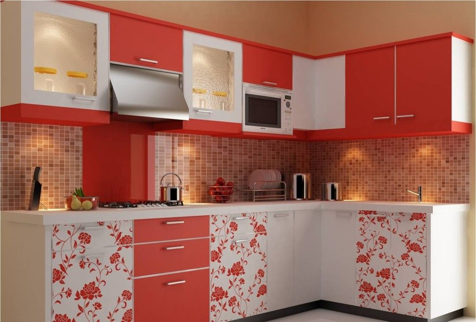 KitchenKitchen Modular Orange Color With Kitchen Cabinet Painting Flower Style Designs