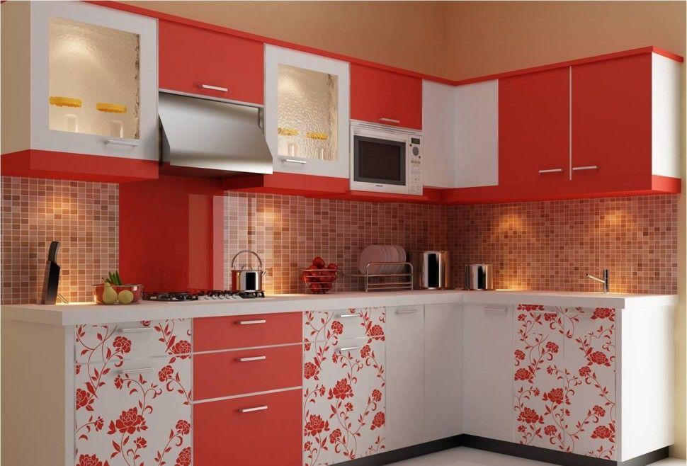 orange color kitchen design. Kitchen Modular Orange Color With Cabinet Painting Flower  Style Designs