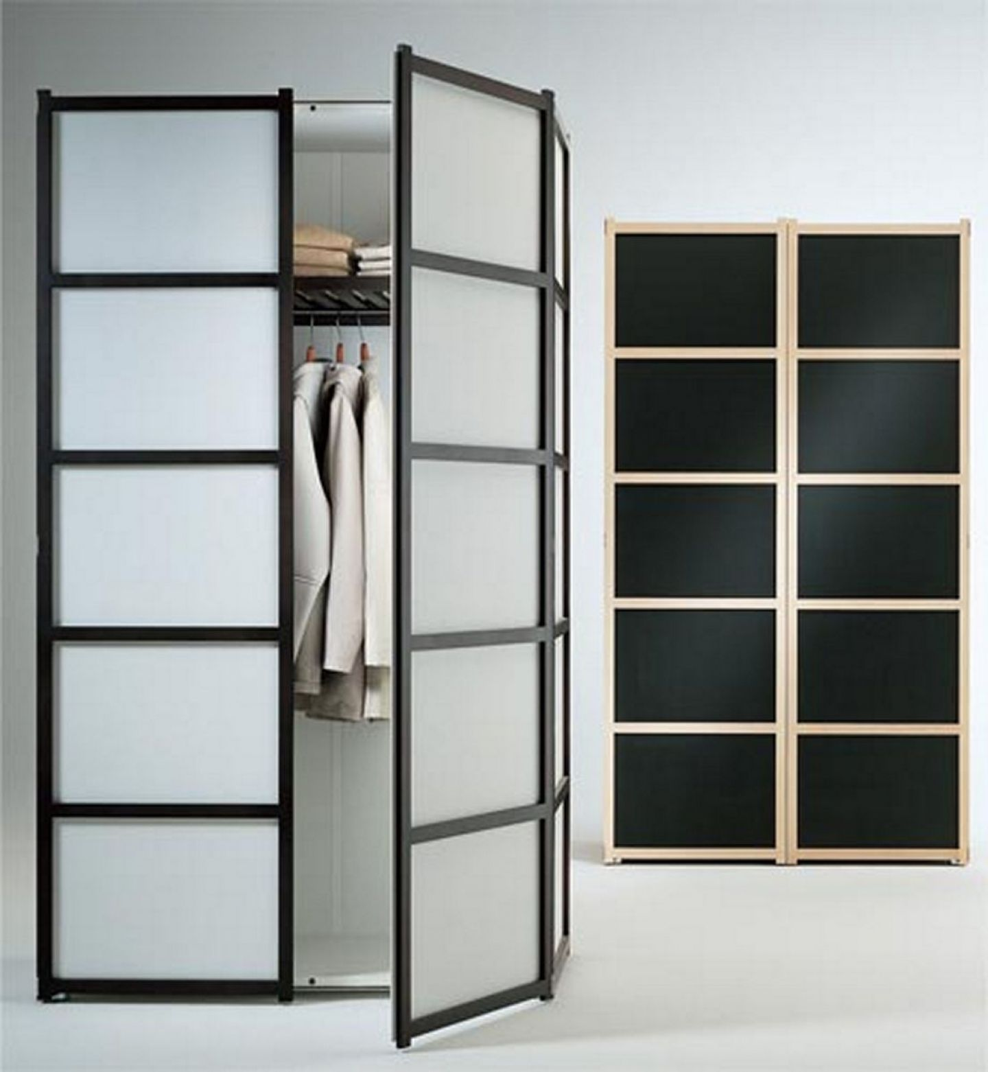Fascinating Frozen Glass Double Swing Door Ikea Wardrobe For Clothes Organizers In White Room Furnishing Ideas