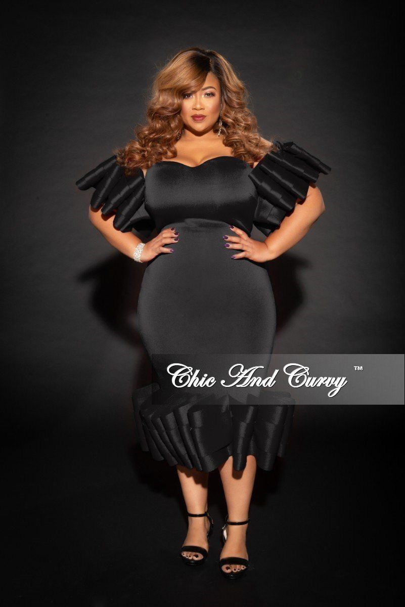 6084a1b1 Plus Size Off the Shoulder BodyCon Dress with Exaggerated Sleeves – Chic  And Curvy