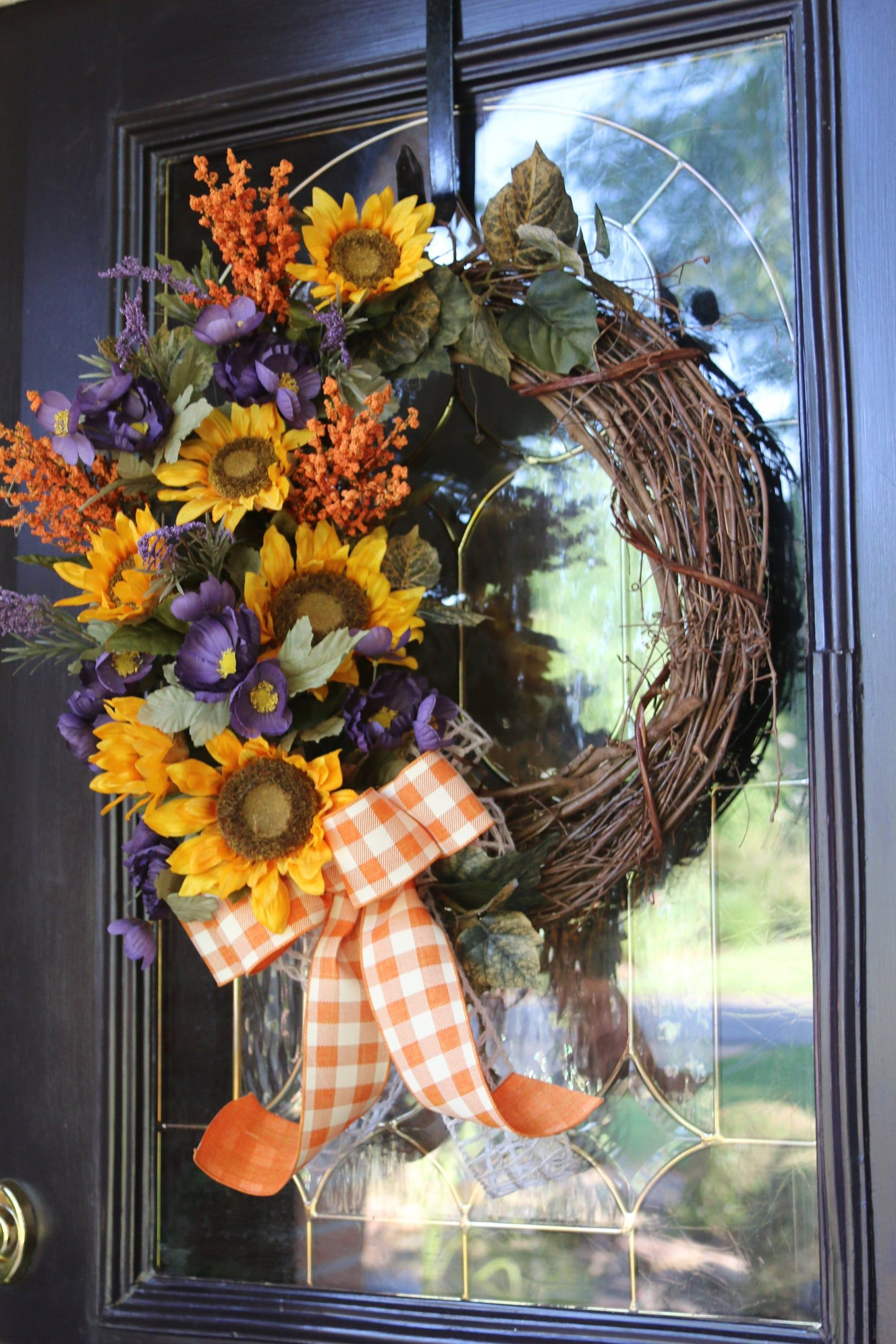 Photo of Farmhouse wreath, Year Round wreath with Sunflowers, Rustic Door wreath, Buffalo Check Sunflower Decor, Double Door Wreath, Gift for Her